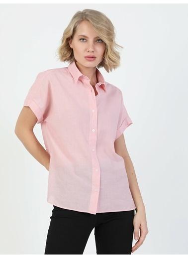 Colin's Regular Fit Shirt Neck Kadın Kısa Kol Gömlek Pembe